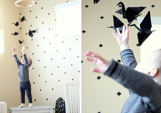 selbermachen papierkraniche mobil himbeer maganzin. Black Bedroom Furniture Sets. Home Design Ideas