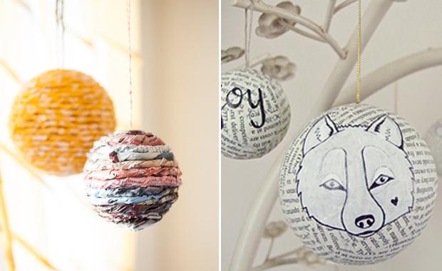 selber machen weihnachtskugeln aus zeitungspapier himbeer magazin. Black Bedroom Furniture Sets. Home Design Ideas