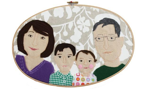 Familienportrait Stickrahmen