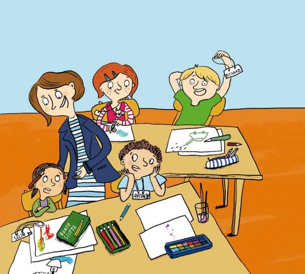 Kinderbuch-Tioo für Erstleser: Die wilden Schulzwerge, Illustration Tine Schulz, Klett Kinderbuch